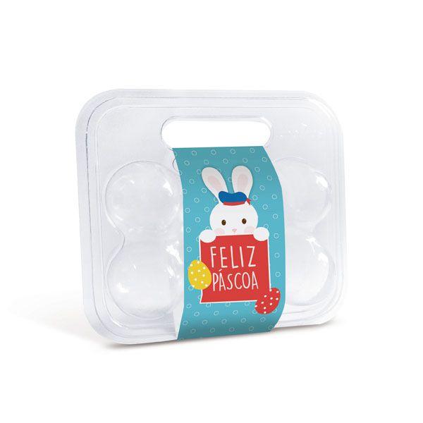 Maleta para 6 ovos com Cinta Coelhinho Azul 16,5x15,3x6,8cm - 10 unidades - Cromus Páscoa - Rizzo Embalagens