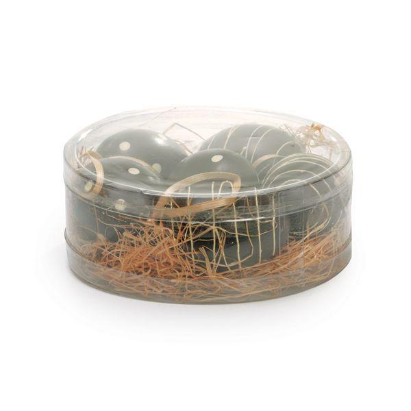 Ovos de Galinha Plásticos na Caixinha Marrom Marfim - 06 unidades - Cromus Páscoa - Rizzo Embalagens