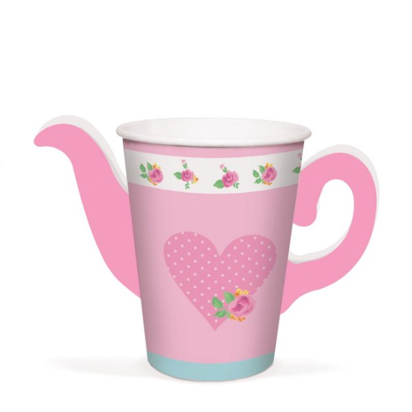 Copo Bule Festa Chá das Meninas 240ml - 8 unidades - Cromus - Rizzo Festas
