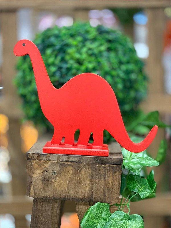Enfeite de Mesa Dinossauro Vermelho nº2 de Madeira Festa Dinossauro - 1 Unidade - Rizzo Festas