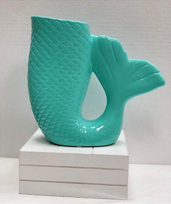 Vaso Cauda 19cm Verde Água Festa Sereia - 1 Unidade - Rizzo Festas