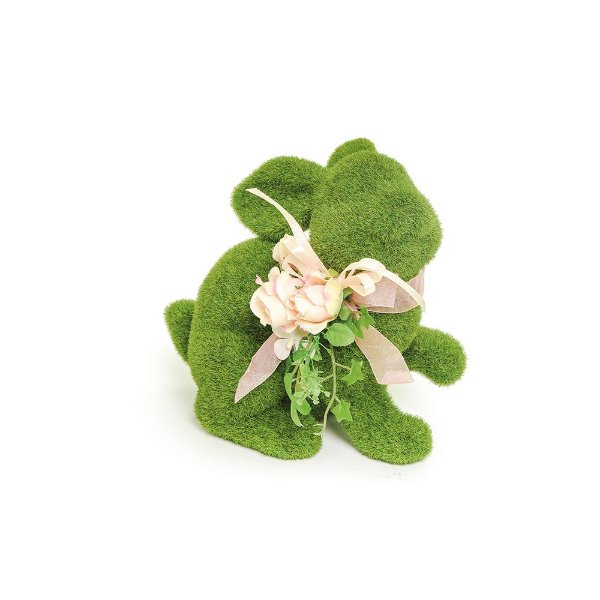 Coelho em Pé Verde Rústico Flor P - 18cm x 19m x 12cm - Linha Rústic - Cromus Páscoa Rizzo Embalagens