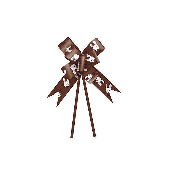 Laço Pronto Coelho Fantasia Marrom 18mm - 10 unidades - Cromus Páscoa - Rizzo Embalagens
