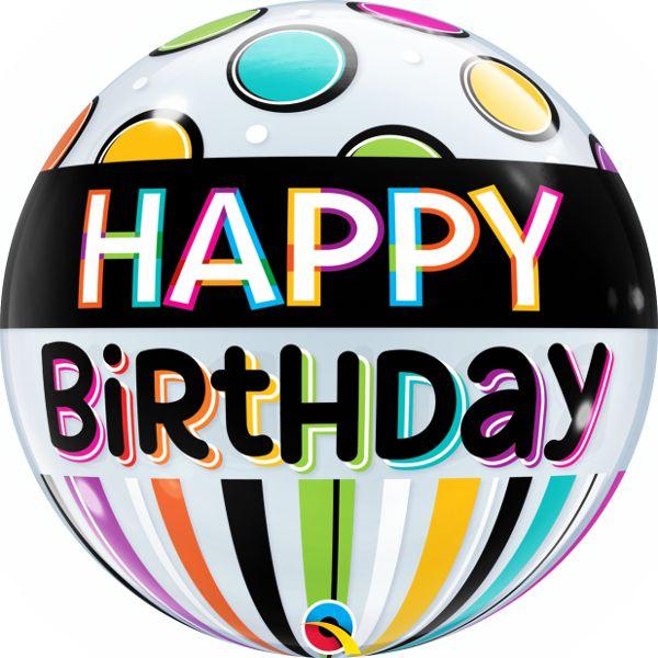 Balão Bubble Transparente Feliz Aniversário Listra Preta e Pontos - 22'' 56cm - Qualatex - Rizzo festas