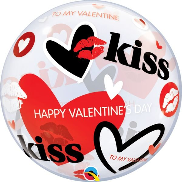 Balão Bubble Transparente Happy Valentine's Day - 22'' 56cm - Qualatex - Rizzo festas