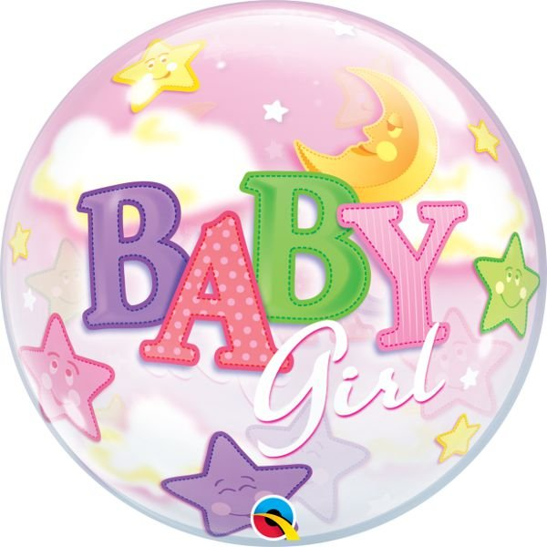 Balão Bubble Transparente Baby Girl - 22'' 56cm - Qualatex - Rizzo festas