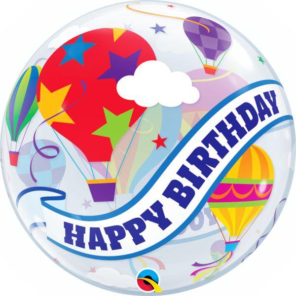 Balão Bubble Transparente Feliz Aniversário Balão de Ar Quente - 22'' 56cm - Qualatex - Rizzo festas