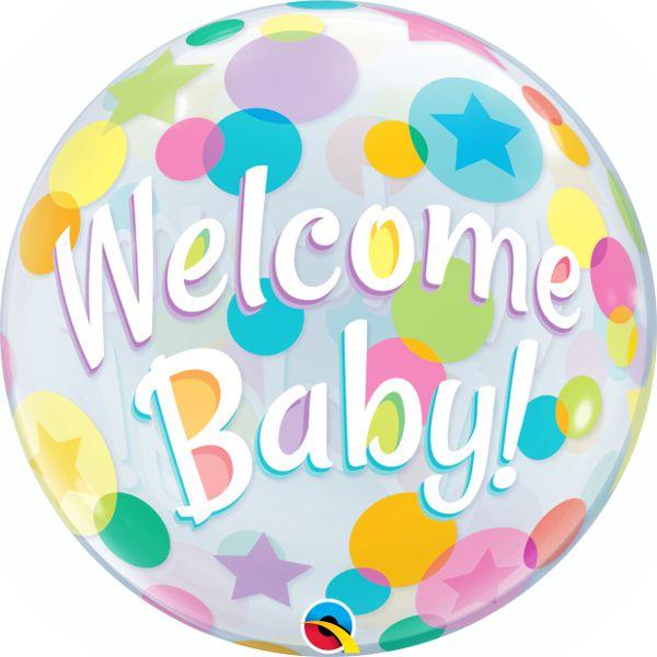 Balão Bubble Transparente Welcome Baby - 22'' 56cm - Qualatex - Rizzo festas