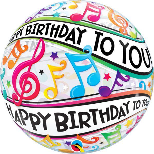 """Balão Bubble Transparente Notas Musicais de """"Parabéns a você"""" - 22'' 56cm - Qualatex - Rizzo festas"""