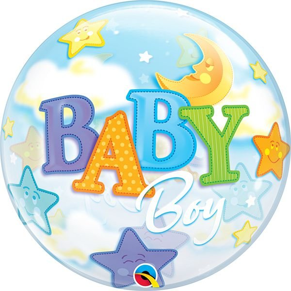 Balão Bubble Transparente Baby Boy - 22'' 56cm - Qualatex - Rizzo festas