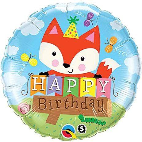 Balão Metalizado Festa de Aniversário com Raposa - 18'' - Qualatex - Rizzo festas