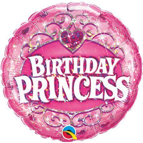 Balão Metalizado Holográfico Birthday Princess - 18'' - Qualatex - Rizzo festas