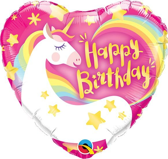 Balão Metalizado Feliz Aniversário Festa Unicórnio - 18'' - Qualatex - Rizzo festas