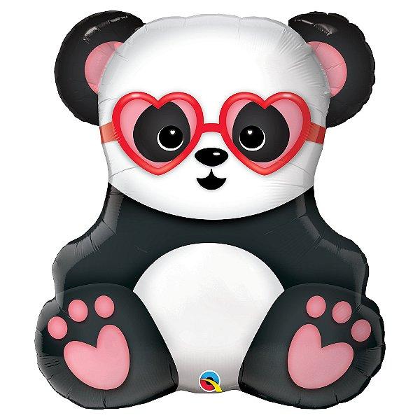 Balão Metalizado Panda de Óculos Festa Panda - 32'' - Qualatex - Rizzo festas