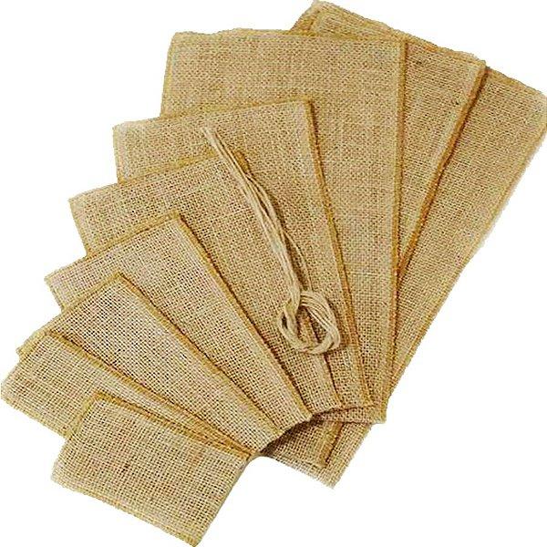 Saco de Juta para Lembrancinhas Nº 1 - 12x20cm-  5 unidades - EcoArt Embalagens