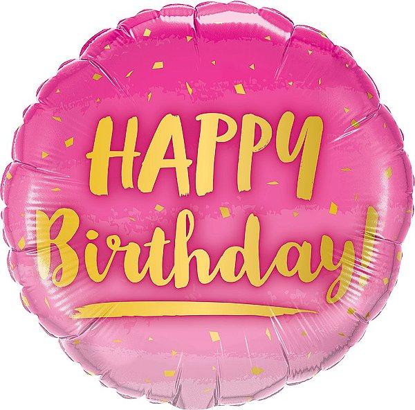 Balão Metalizado Aniversário Ouro & Rosa - 18'' - 1 Unidade - Qualatex - Rizzo festas