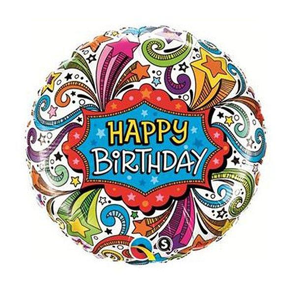 Balão Metalizado Estrelas Aniversário - 18'' - 1 Unidade - Qualatex - Rizzo festas