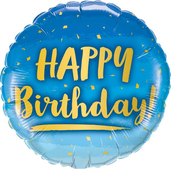 Balão Metalizado Aniversário Ouro & Azul - 18'' - 1 Unidade - Qualatex - Rizzo festas