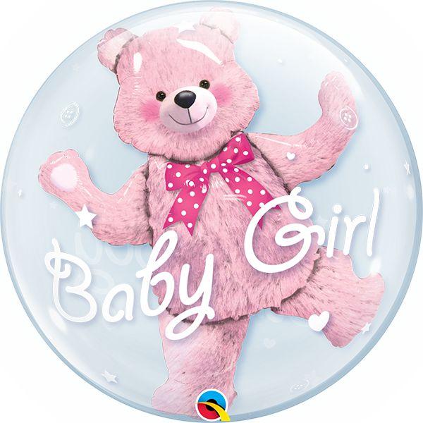 Balão Double Bubble Transparente Ursinho Rosa Baby Girl - 24'' 61cm - Qualatex - Rizzo festas