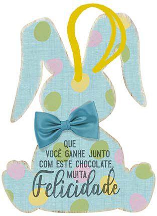 Tag de Páscoa Madeira Coelho Azul - LitoArte - Rizzo Embalagens