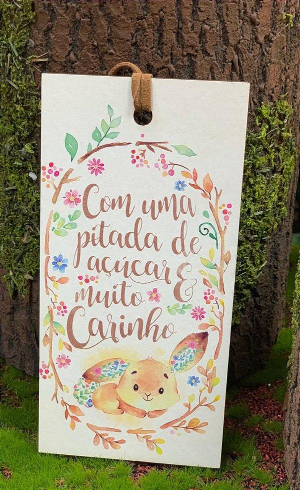 Tag de Páscoa Madeira Arco de Flores Coelho Deitado - LitoArte - Rizzo Embalagens