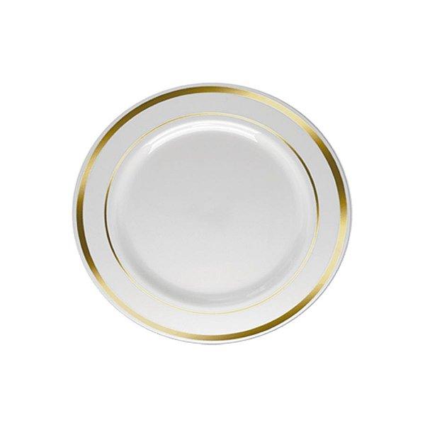Prato Sobremesa Borda Dourada - 6 un -  19 cm -Silver Festas