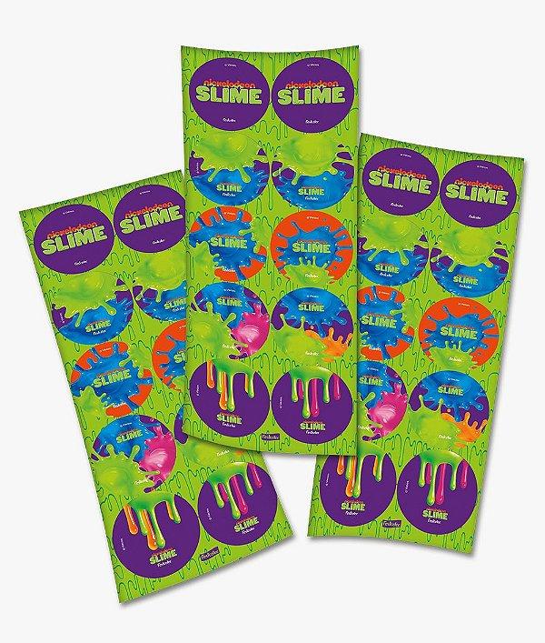 Adesivo Redondo para Lembrancinha Festa Slime - 30 unidades - Festcolor - Rizzo Festas