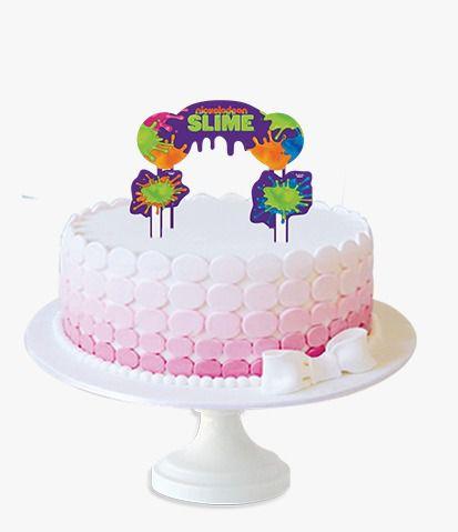 Topper para Bolo Festa Slime - 3 itens - Festcolor - Rizzo Festas