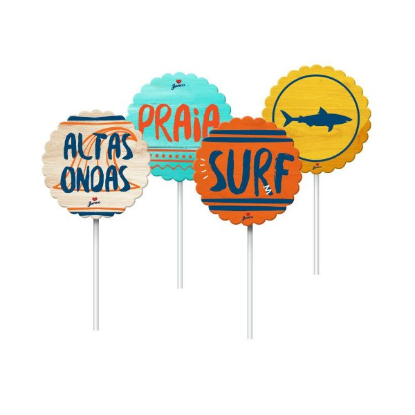 Topper Festa Surf Tropical - 8 unidades - Junco - Rizzo Festas