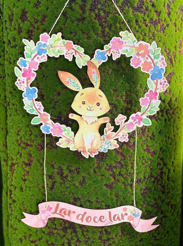 Plaquinha Páscoa Coração de Flores Lar Doce Lar - 1 Unidade - Rizzo Embalagens
