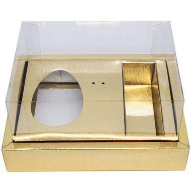 Caixa Ovo de Colher com Moldura 3 Bombons - Meio Ovo de 100g a 150g - 20cm x 15cm x 10cm - Ouro - 5unidades - Assk - Páscoa Rizzo Embalagens