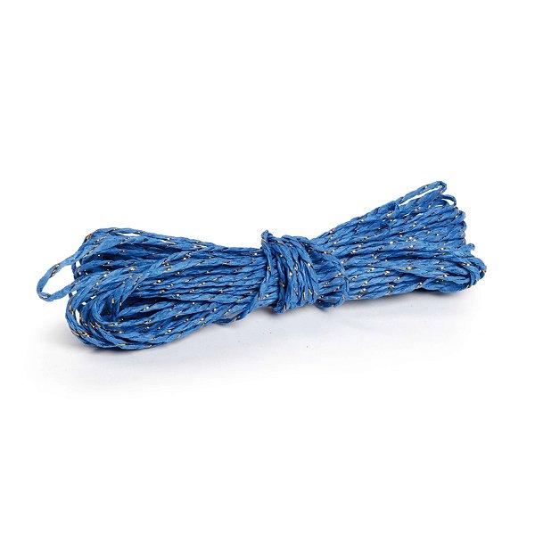 Fio Decorativo de Papel Torcido Azul Listrado com Ouro - 5 metros - Cromus Páscoa - Rizzo Embalagens