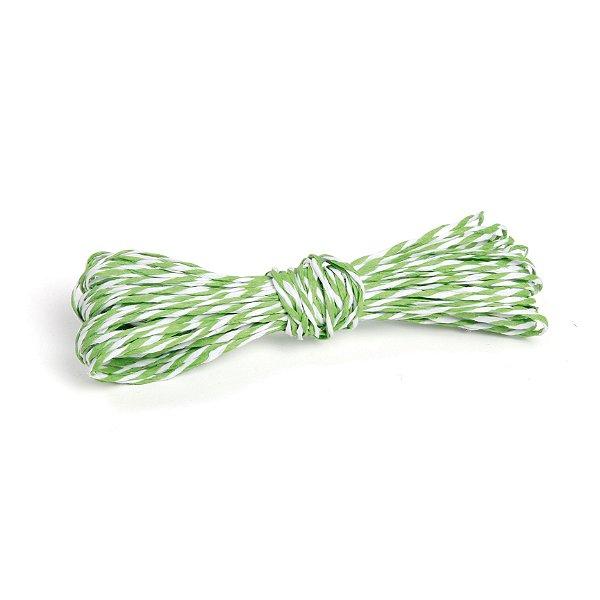 Fio Decorativo de Papel Torcido Verde Listrado com Branco - 5 metros - Cromus Páscoa - Rizzo Embalagens