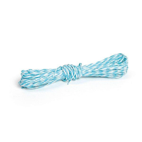Fio Decorativo de Papel Torcido Azul Claro Listrado com Branco - 5 metros - Cromus Páscoa - Rizzo Embalagens