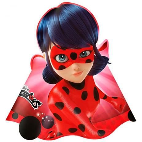 Chapéu LadyBug Festa Miraculous - 8 unidades - Regina - Rizzo Festas