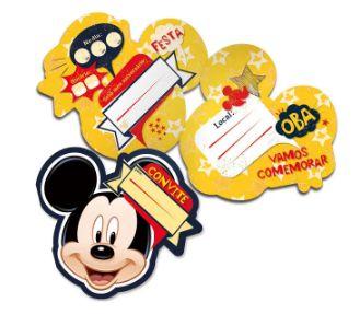 Convite Festa Mickey - 8 unidades - Regina - Rizzo Festas