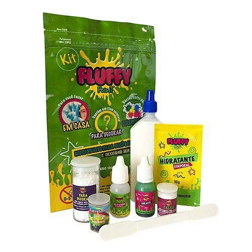 Kit Slime Fluffy Faça Você Mesmo com 8 itens - Verde - Festa Slime - Rizzo Embalagens