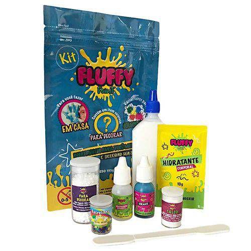 Kit Slime Fluffy Faça Você Mesmo com 8 itens - Azul - Festa Slime - Rizzo Embalagens