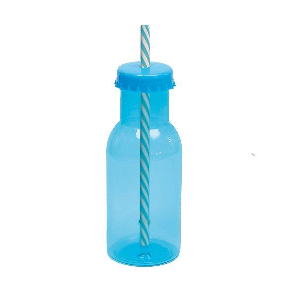 Garrafinha de Plástico com Canudo Azul 350ml - Cromus - Rizzo Festas