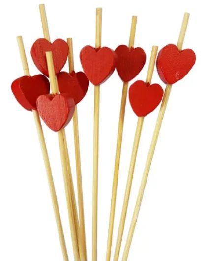 Palito Petiscos Coração de Bambu 12cm - 20 unidades - Silver Festas - Rizzo Festas