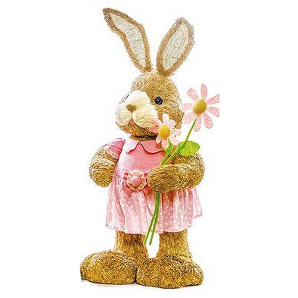 Coelha Rústica Flor - 90cm x 42cm x 34cm - 1 unidade - Linha Bem Casado - Cromus Páscoa Rizzo Embalagens