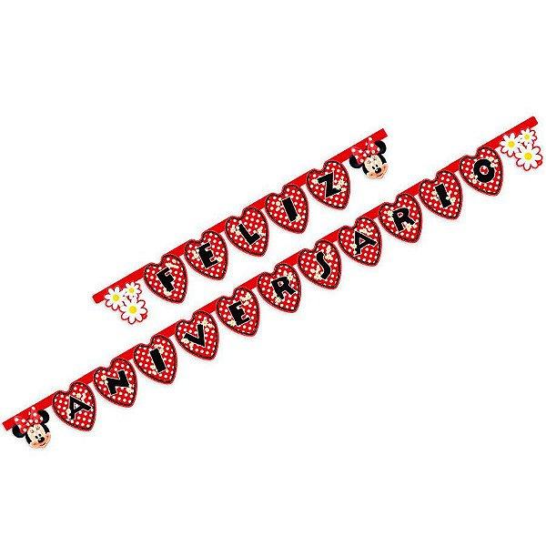 Faixa Feliz Aniversário Festa Minnie - Regina - Rizzo Festas
