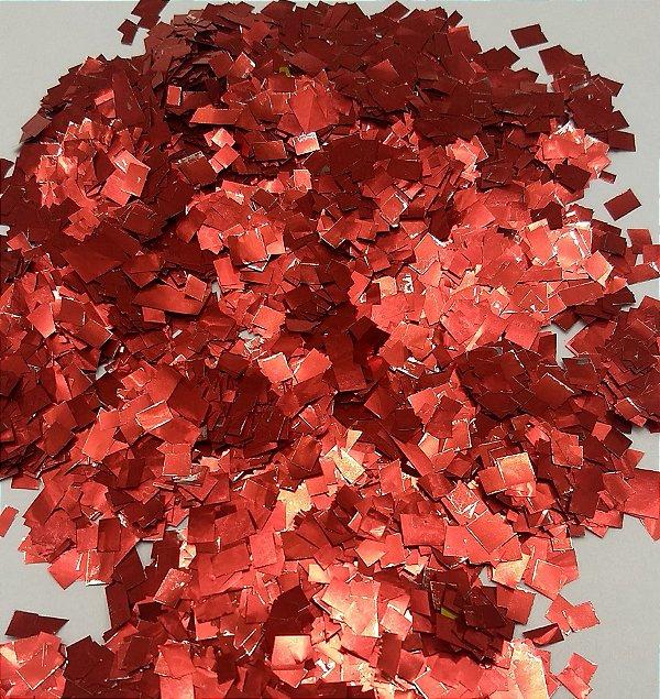 Confete Vermelho Metalizado Quadrado para Balão - 1cm x 1cm - Estilo e Festas Rizzo Festas
