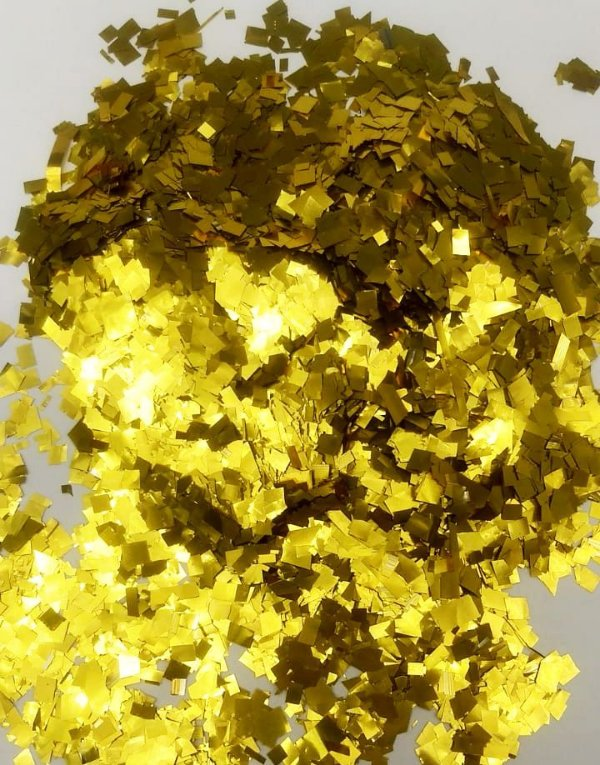 Confete Amarelo Metalizado Quadrado para Balão - 1cm x 1cm - Estilo e Festas Rizzo Festas