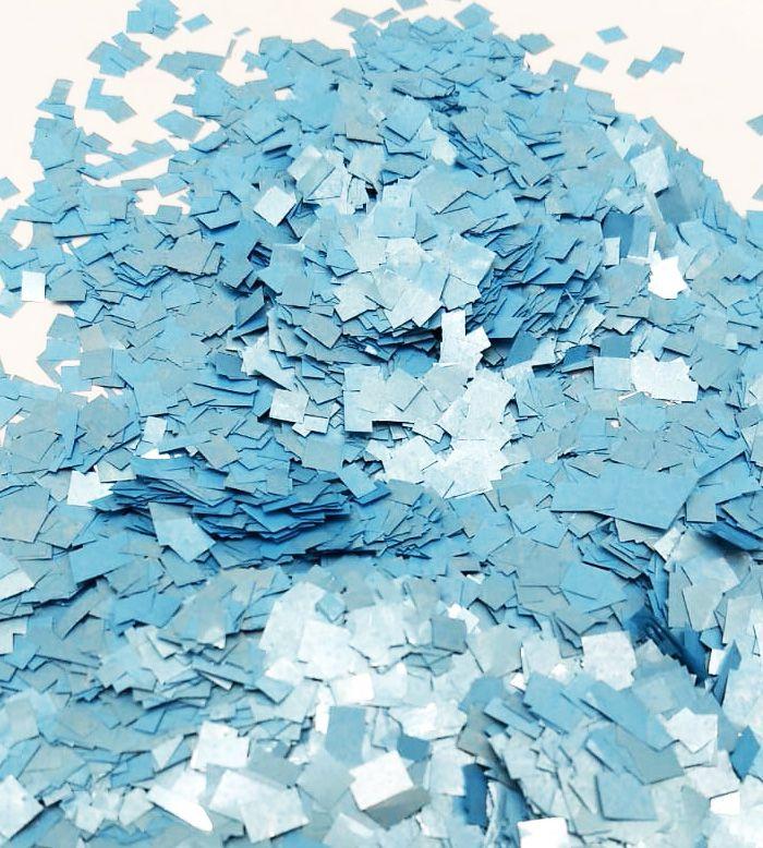 Confete Azul Metalizado Quadrado para Balão - 1cm x 1cm - Estilo e Festas Rizzo Festas