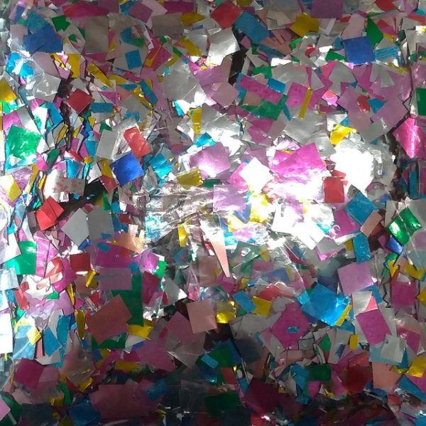 Confete Colorido Metalizado Quadrado para Balão - 1cm x 1cm - Estilo e Festas Rizzo Festas