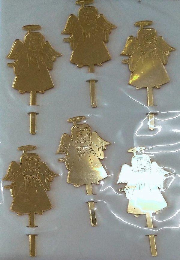 Tag Decorativo Batizado Anjo Ace Dourado 7cm - 6 Unidades - Vivart Rizzo Festas
