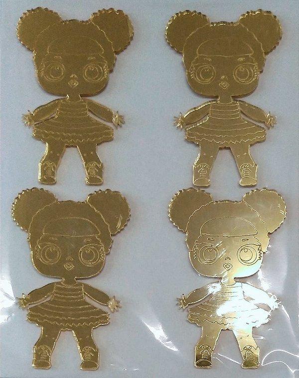 Aplique Doll Be Ace Dourado Festa LOL 7cm - 4 Unidades - Vivart Rizzo Festas