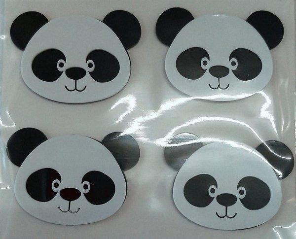 Aplique Festa Panda Cabeça 4cm - 4 Unidades - Vivart Rizzo Festas