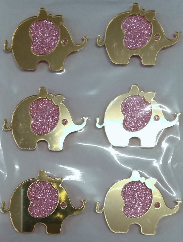Aplique Elefante Rosa com Glitter Festa Safari 4cm - 6 Unidades - Vivart Rizzo Festas